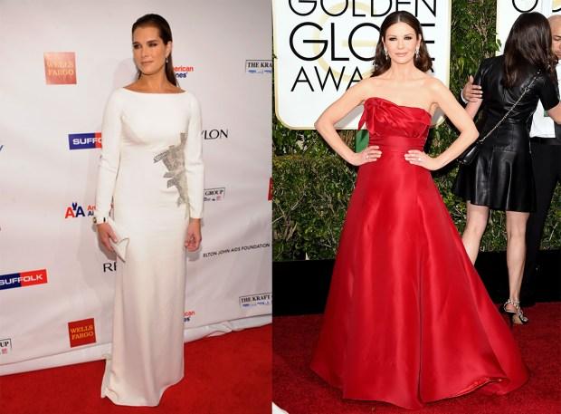 Brooke Shields y Catherine Zeta Jones en alfombras rojas con vestidos de alta costura by Sánchez. Blanco & rojo, apliques delicados y muy femeninos y elegantes. Así es el modelo de mujer que inspira al diseñador.