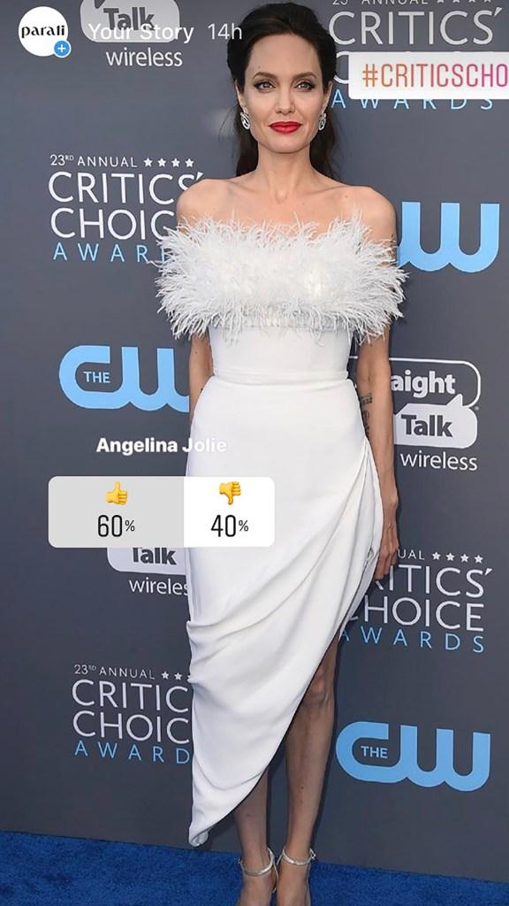 Los críticos la eligieron como una de las más glamorosas de la noche, los lectores la apoyaron con un 60%. Angelina Jolie, se inclinó por un vestido strapless de falda drapeada con corte asimétrico en tono off white de Ralph & Russo.