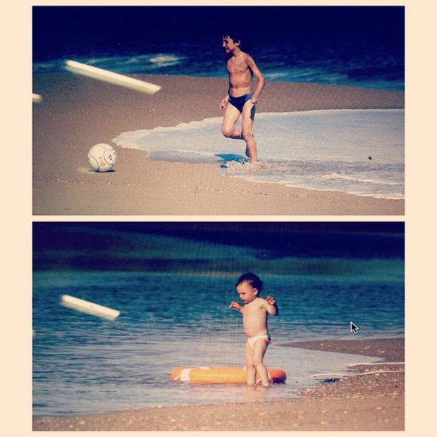 Francisco y Juanita de bebé jugando en la playa.