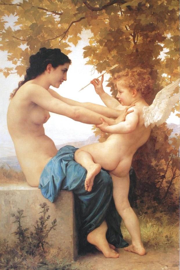 """""""Joven defendiéndose de Eros"""", de William Adolphe Bouguereau"""