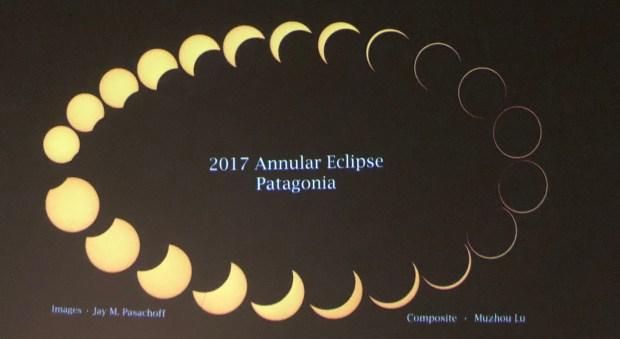 Imágenes del eclipse anular que Pasachoff observó en Chubut en 2017
