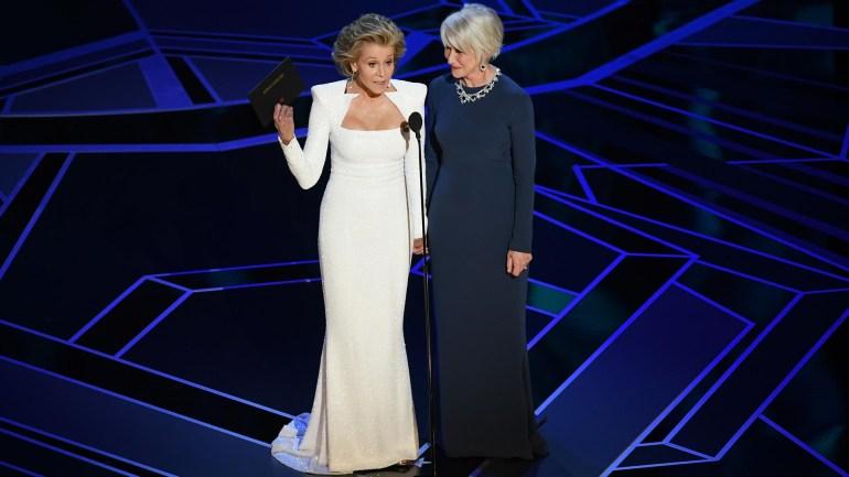 Jane Fonda y Helen Mirren entregaron el premio a Mejor Actor