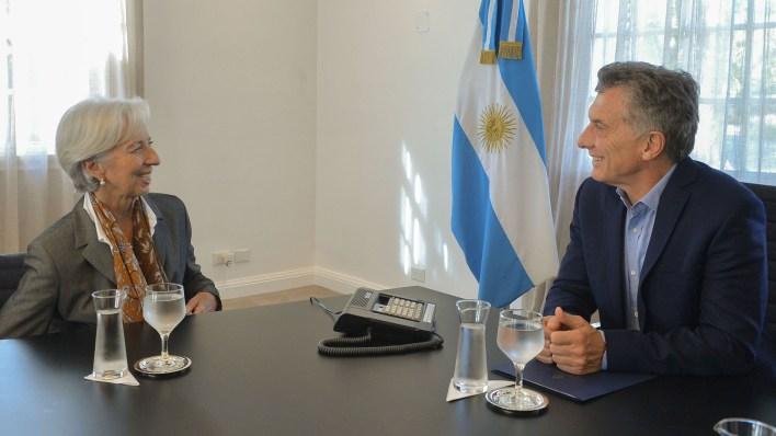 Macri y Lagarde, directora del FMI, en la Quinta de Olivos