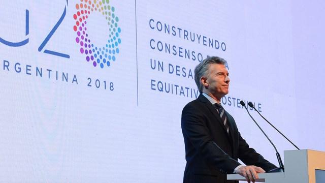 Mauricio Macri en la reunión de ministros de Finanzas del G20 en marzo de 2018