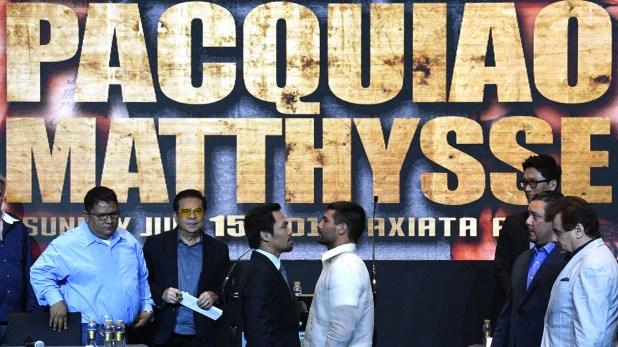 Lucas Matthyssey Manny Pacquiao se enfrentan este noche en Malasia(AFP)