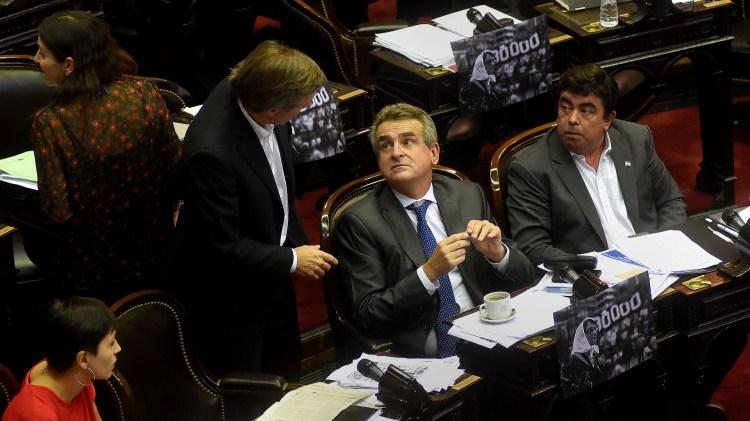 El bloque done están los legisladores de Unidad Ciudadana (Nicolás Stulberg)