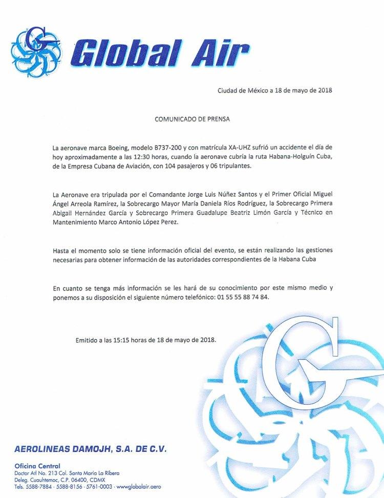 El comunicado de Global Air, la empresa propietaria del avión accidentado