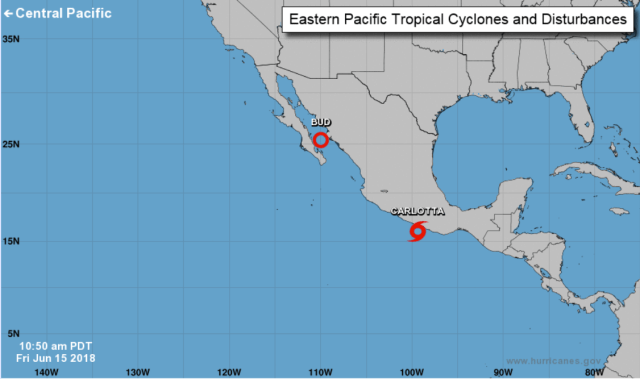 La depresión 4E evolucionó esta tarde a la tormenta tropical Carlotta frente a la costa de Guerrero
