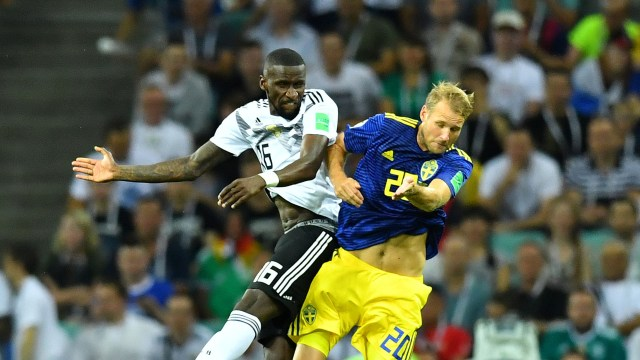 Soccer Football – World Cup – Group F – Germany vs Sweden – Fisht Stadium, Sochi, Russia – June 23, 2018 Germany's Antonio Rudiger in action with Sweden's Ola Toivonen REUTERS/Dylan Martinez