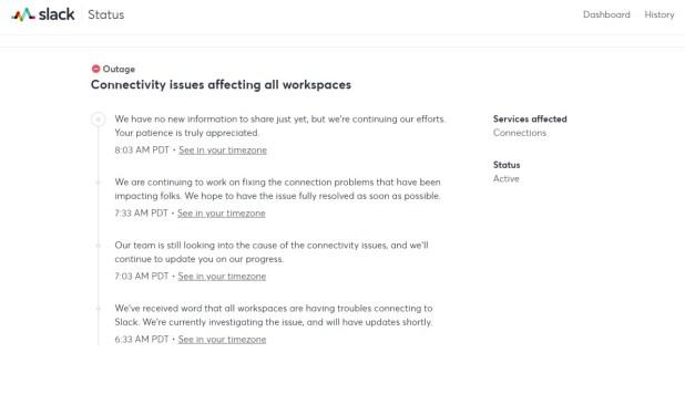 La empresa publicó una serie de mensajes reconociendo el inconveniente con Slack
