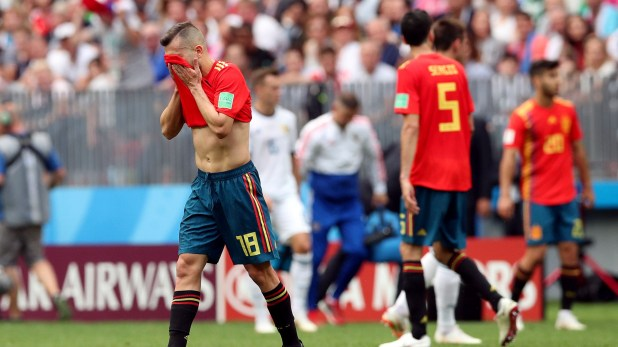 Soccer Football – World Cup – Round of 16 – Spain vs Russia – Luzhniki Stadium, Moscow, Russia – July 1, 2018  Spain's Jordi Alba reacts  REUTERS/Albert Gea