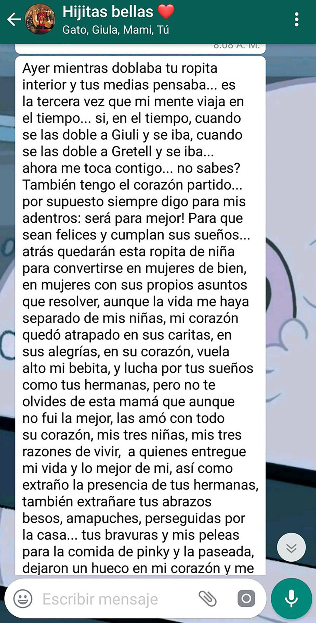 El mensaje enviado por la madre