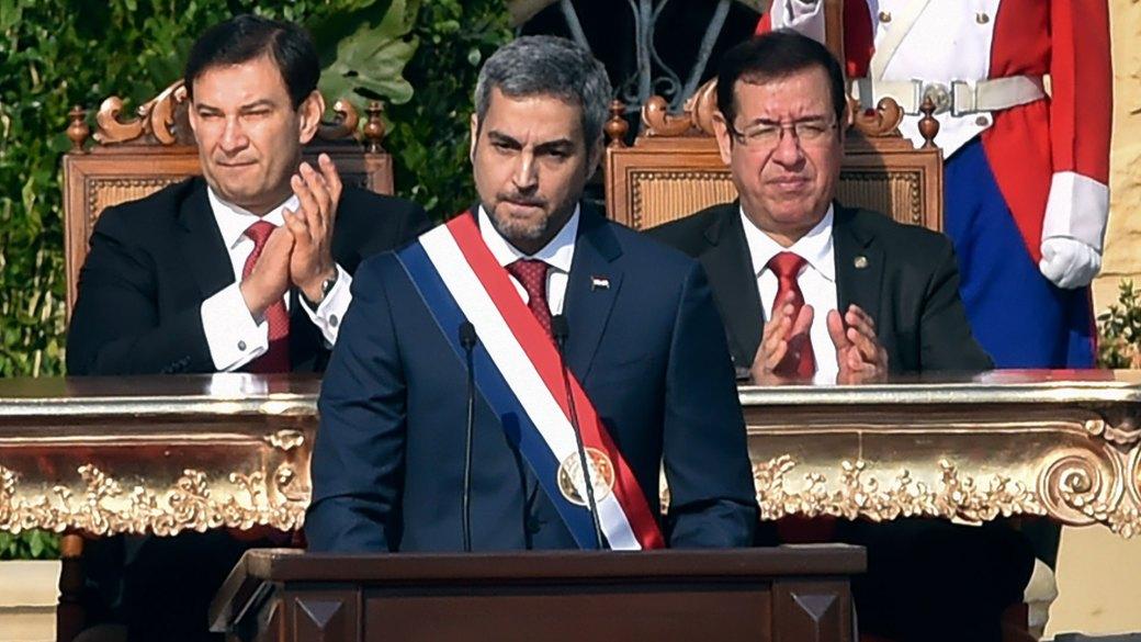 Mario Abdo Benítez brindó su primer discurso como presidente (Reuters)