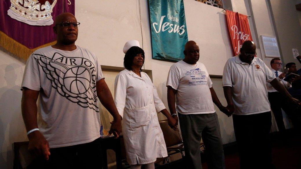 Vigilia por Aretha Franklin en la iglesia Bautista de New Bethel (AFP)