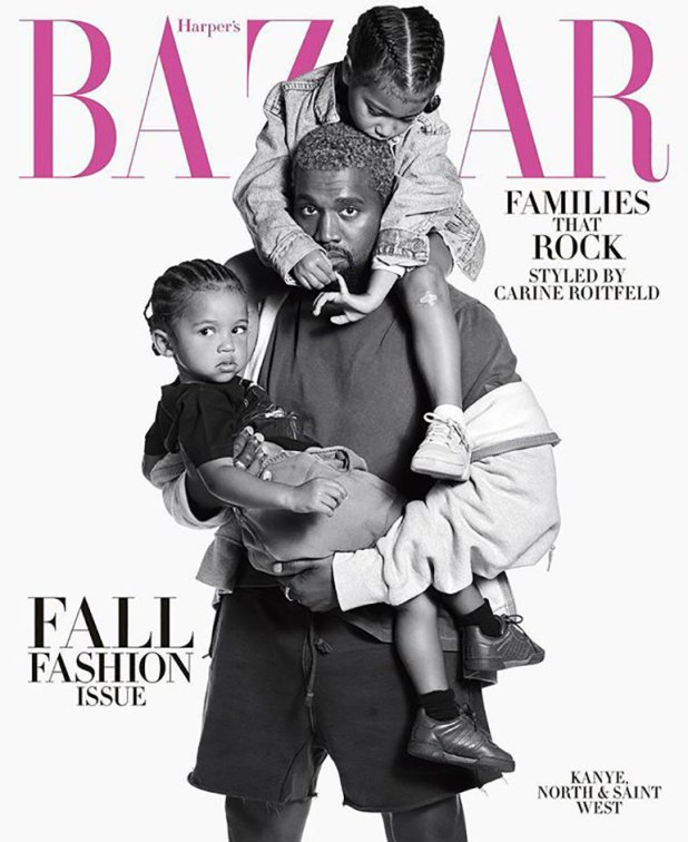 Kanye, North y Saint West posaron para Harper's Bazaar USA