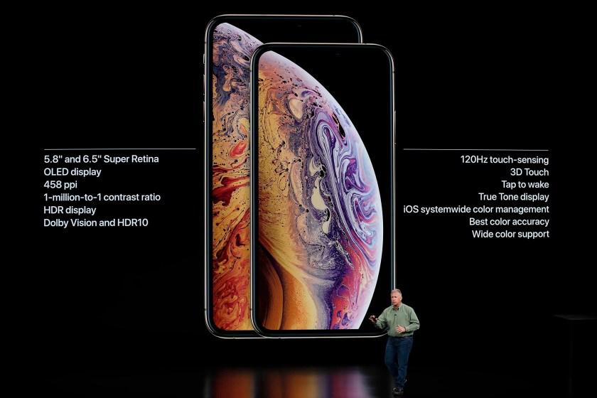 Philip W. Schiller, vicepresidente senior de marketing mundial de Apple, durante la presentación de los nuevos iPhone Xs y Xs Max en Cupertino, California (Reuters)