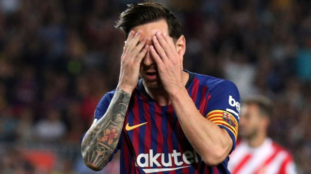 Soccer Football – La Liga Santander – FC Barcelona v Girona – Camp Nou, Barcelona, Spain – September 23, 2018   Barcelona's Lionel Messi reacts   REUTERS/Albert Gea