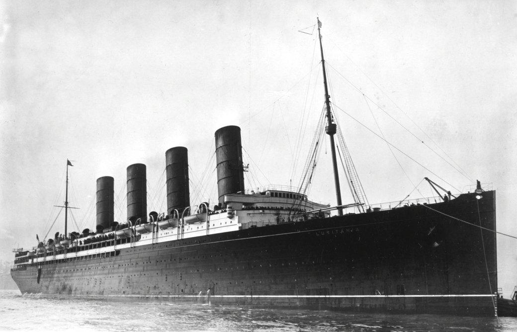 El buqe de pasajeros británico RMS Lusitania, hundido en 1915 por un submarino alemán (U.S. Library of Congress)