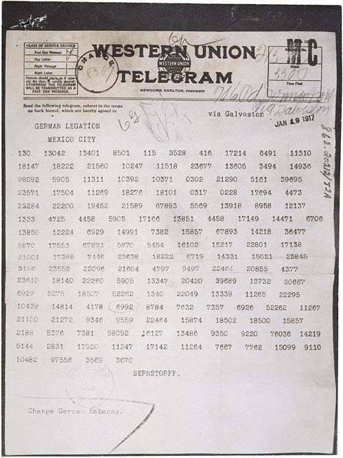 El telegrama Zimmerman, codificado, queproponía en 1917una alianza militar entre Alemania y México (U.S. National Archives and Records Administration)