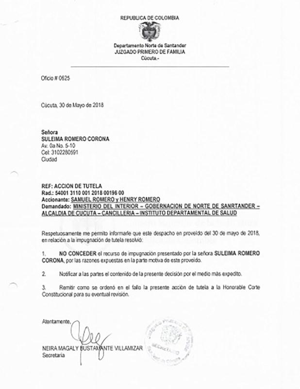 La decisión del juez de negar la tutela interpuesta por dos caciques yukpas al Estado colombiano para que les garanticen una vida digna. (Fuente Dejusticia)
