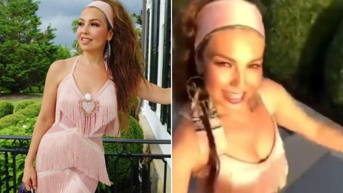 La sonrisa de Thalía ocultaba la verdadera situación emocional que atravesaba el día de la grabación del clip. (Foto: Instagram Thalia)