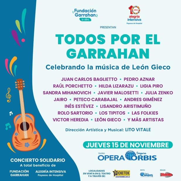 La Fundación Garrahan junto con Alegría Intensiva realizará un concierto solidario a total beneficio celebrando la música de León Gieco