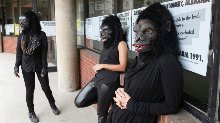 """Photo © Andrew Hindraker Guerrilla Girls artists Kathe Kollwitz, Zubeida Agha and Frida Kahlo during a press preview for an exhibition of works by the Guerrilla Girls titled """"Not Ready To Make Nice: 30 Years And Still Counting,"""" at the Abrams Art Center, 466 Grand St, New York, NY on Thursday, April 30, 2015. Photograph by Andrew Hinderaker"""