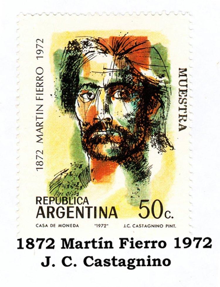 Estampilla con la imagen de Martín Fierro de Juan Carlos Castagnino