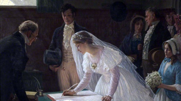 """Firmando el Registro"" de Edmund Blair Leighton"