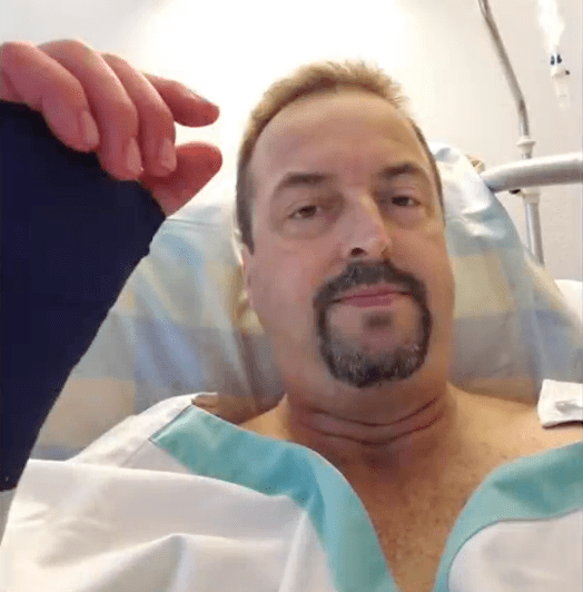 Chris Gurksy en el hospital, después del susto de su vida