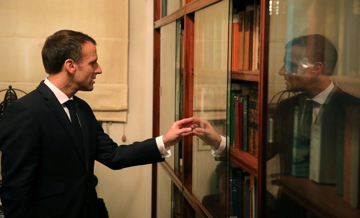 Macron en la fundación Jorge Luis Borges (AFP)