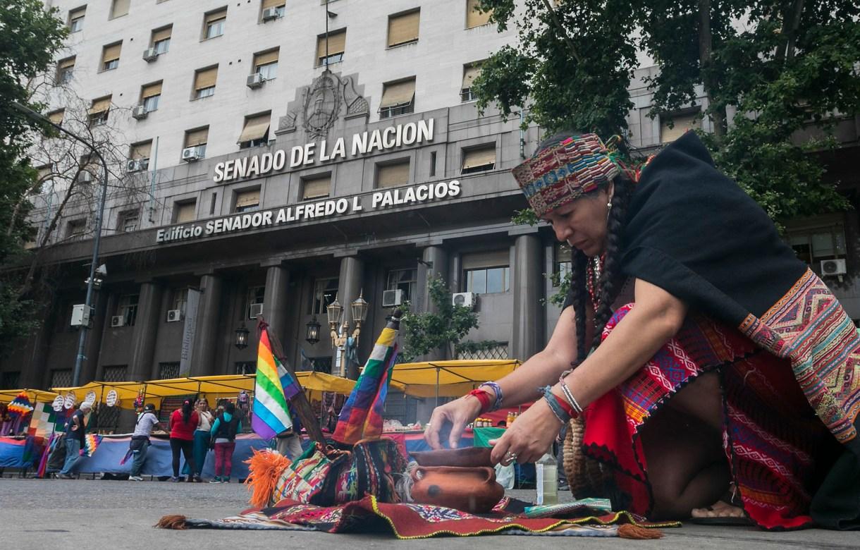 Una mujer de pueblos originarios participa de la protesta frente al Congreso en contra del G20 (AFP)