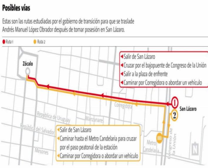 Las dos posibles rutas de AMLO hacia el Zócalo capitalino