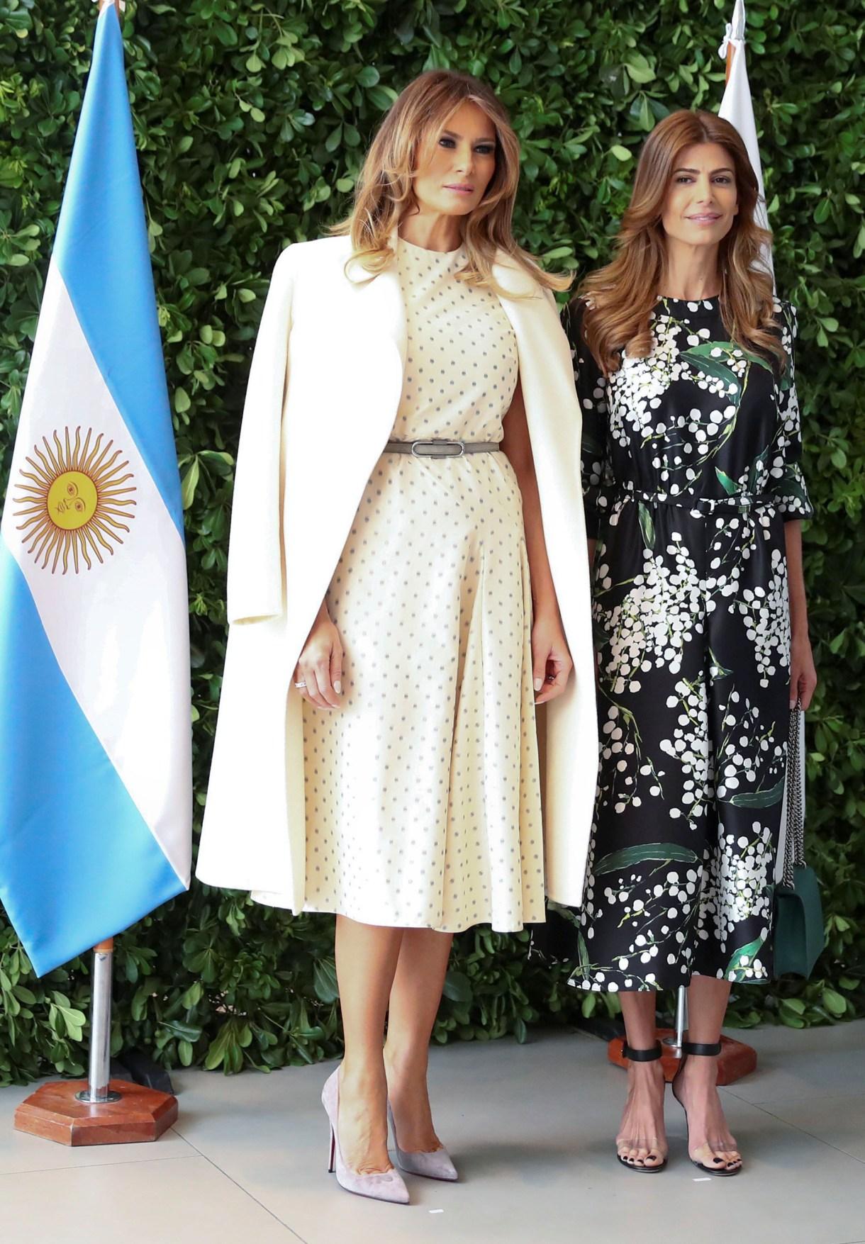 Juliana Awada junto a Melania Trump en el encuentro de mujeres en el museo MalbaREUTERS/Pilar Olivares