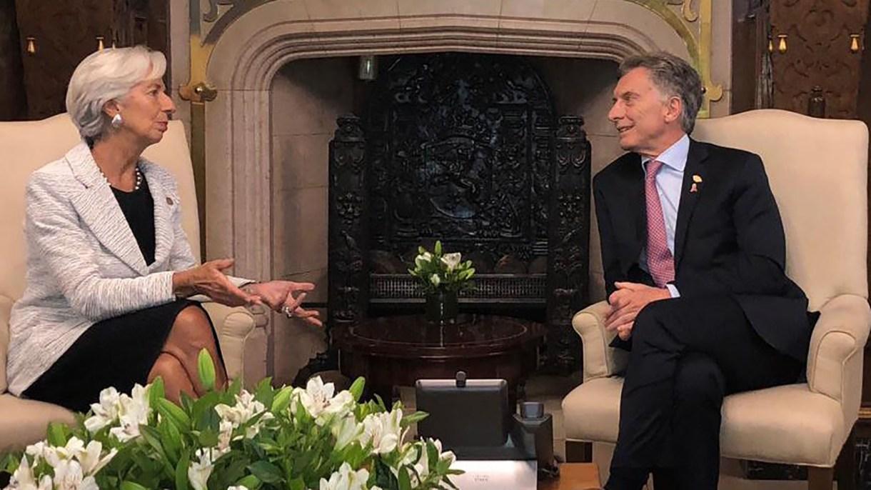 La titular del FMI, Christine Lagarde, junto al presidente Macri.