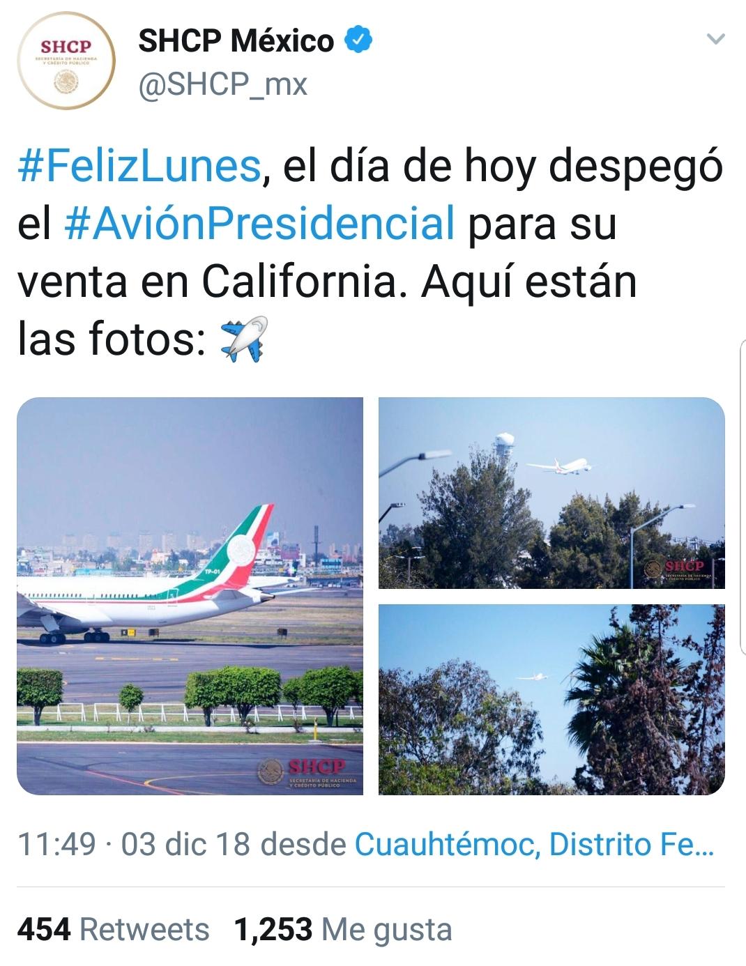 La Secretaría de Hacienda y Crédito Público mencionó que ya se fue de México (Foto: Twitter)