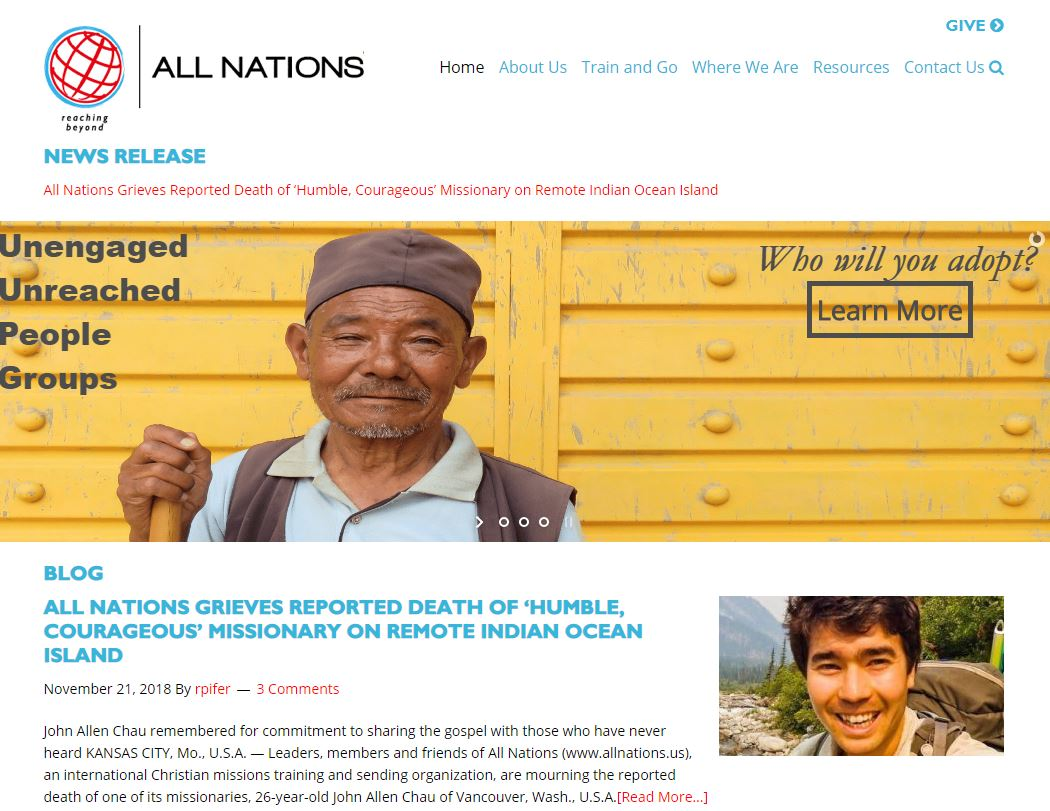 John Allen Chau pertenecía a la congregación All Nations Family