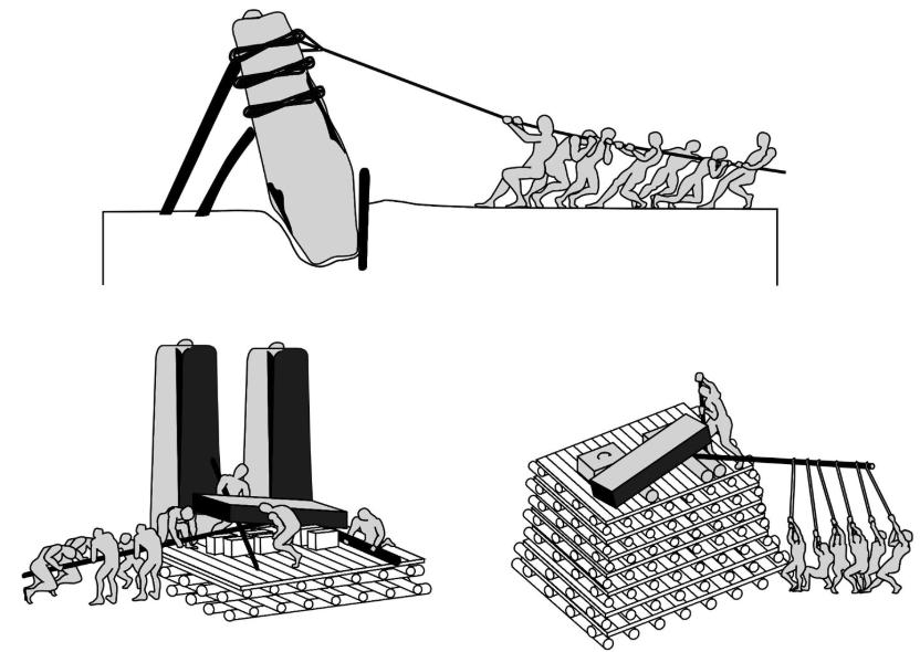 Otro dibujo de National Geographic para ilustrar una hipótesis de cómo se construyó el Círculo de Stonehenge en Inglaterra