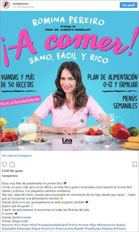 El anuncio en las redes de Romina Pereiro sobre su flamante libro (Foto: Instagram)