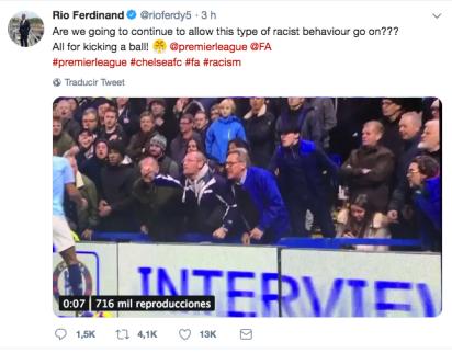 El ex jugador del Manchester United se encontraba en Stamford Bridge cuando se dieron los actos racistas (Foto: Twitter Rio Ferdinand)
