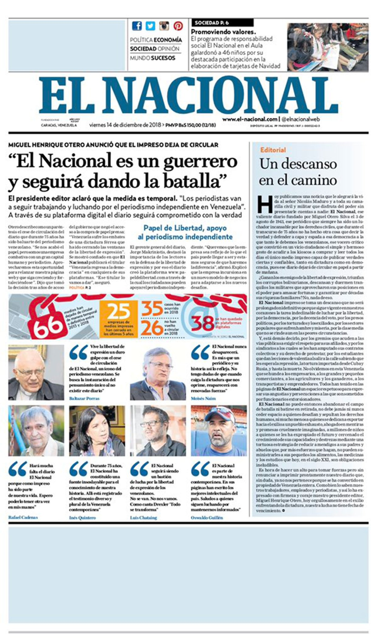La portada de la última edición en papel de El Nacional