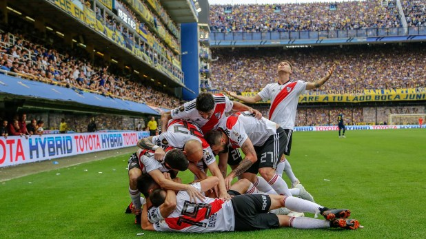 River festeja el empate ante Boca en la primera final de la Copa Libertadores (Nicolás Aboaf)