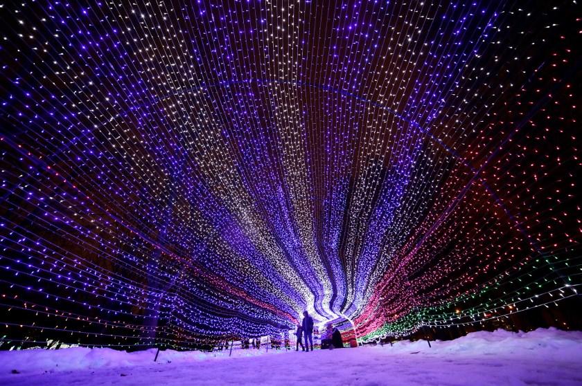 Una escultura de luces en Minsk, Belarús