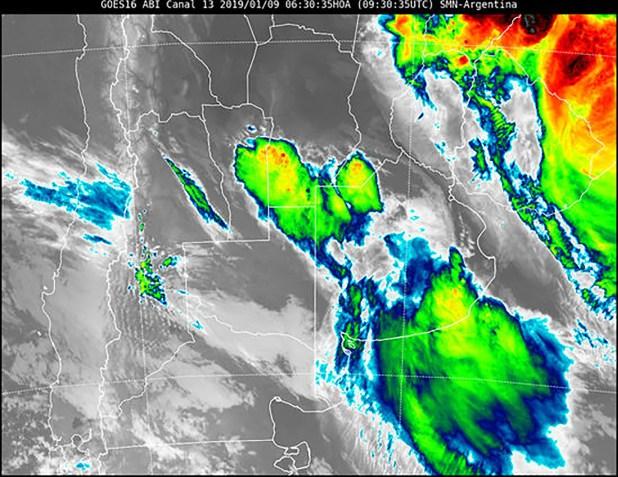 Imagen satelital brindada por el SMN