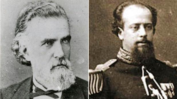 Derrotado en las elecciones por Julio A.Roca, el entonces gobernador de Buenos Aires, Carlos Tejedor (izq), alza en armas a la ciudad en defensa de la supremacía porteña