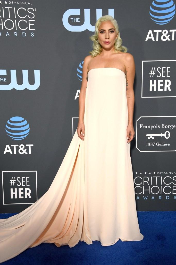 Lady Gaga, la cantante se lució en la blue carpet -otra vez con un vestido largo de varios metros de tela- en rosa bebé strapless. Como complemento, solamente apostó a pequeños aros de brillantes
