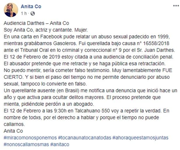 La carta de Anota Co en Facebook