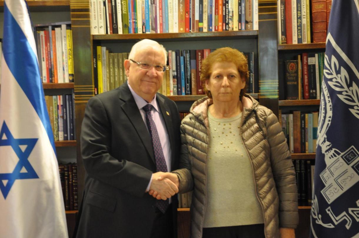 Sara Garfunkel, esta mañana, con el presidente de Israel (Foto: oficina del presidente de Israel)