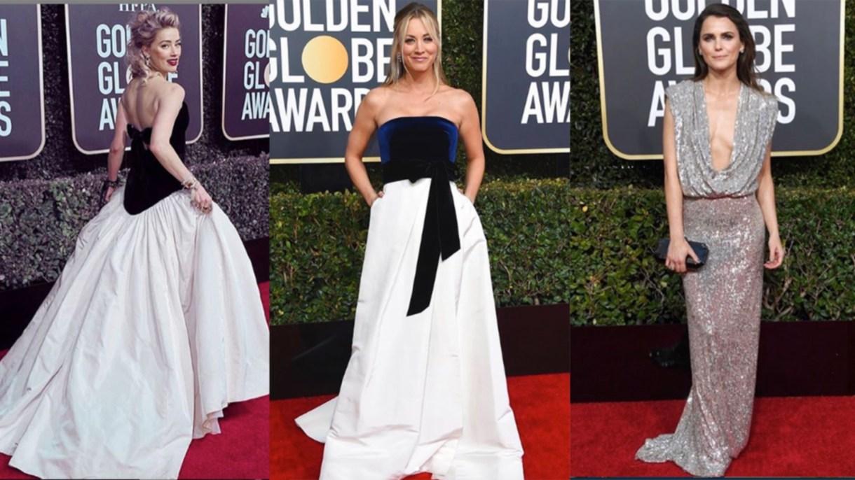 Amber Heard, Kaley Cuoco y Keri Rusell en los Golden Globes.