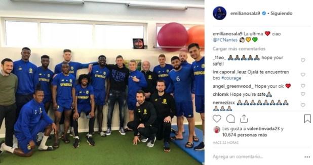 El delantero Emiliano Sala había regresado a Nantes para despedirse de sus compañeros de equipo. Su último posteo